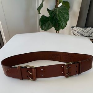 LOFT| Double Buckle Brown Leather Belt